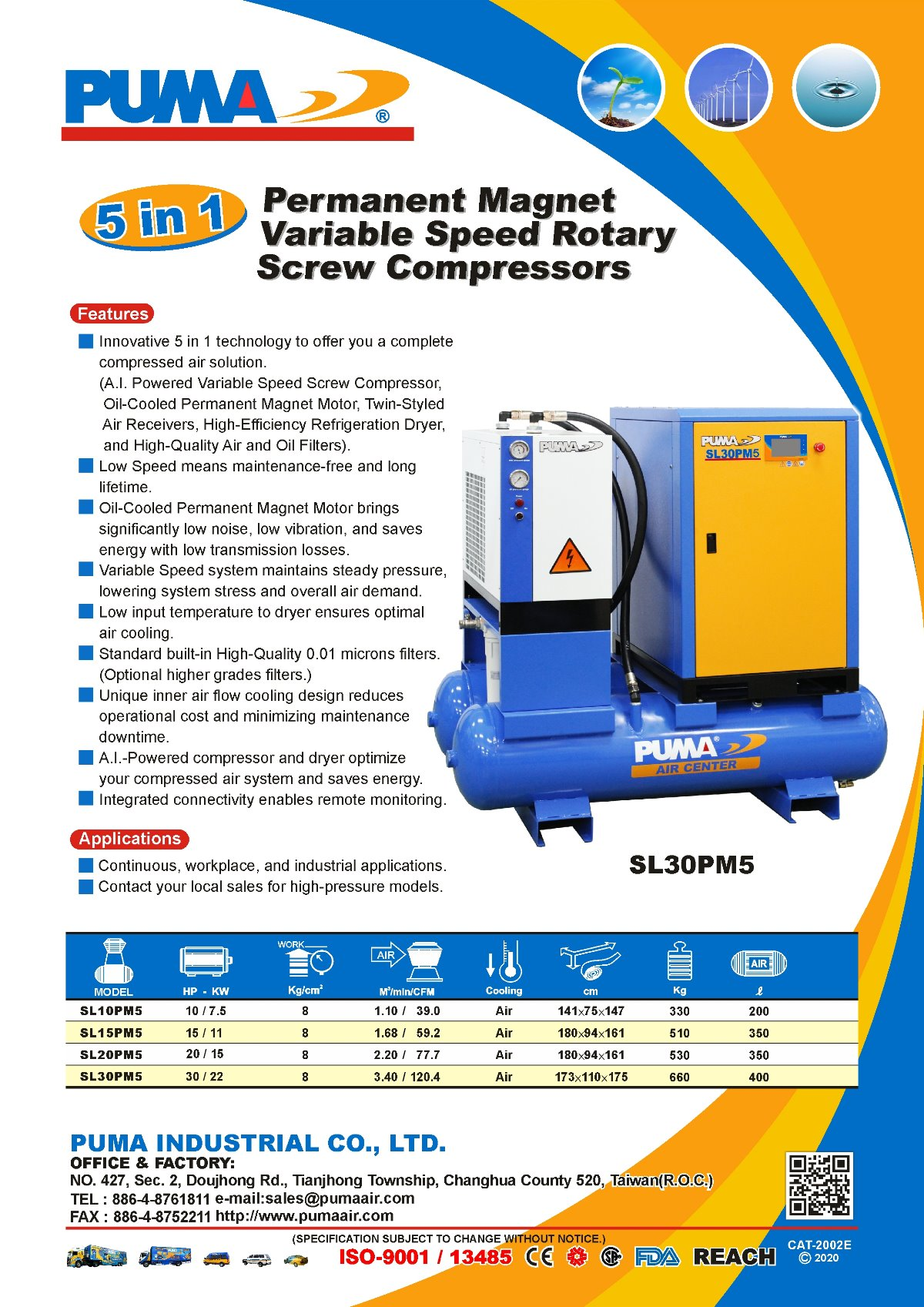 PUMA 5 in 1 Permanent Magnet Variable Speed Rotary Screw Compressors