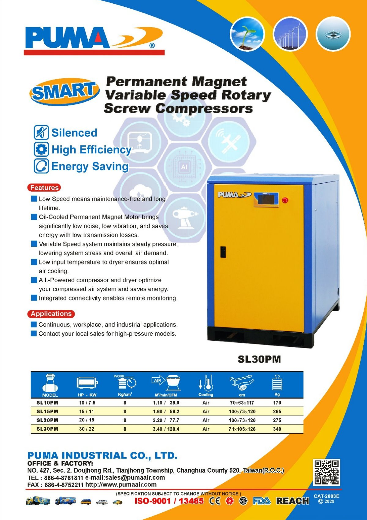 PUMA Smart Permanent Magnet Variable Speed Rotary Screw Compressors
